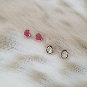 2 Pairs of Tiny Druzy Crystal Stone Stud Earrings
